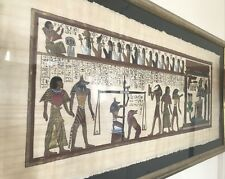 Rare Egyptian Silk cloth paper Hand Painted Mythological Hieroglyphics Painting