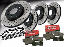 Front+Rear Drilled & Slotted Black Platinum Rotors & Brembo Ceramic Brake Pads