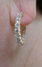 3 carat Round cut Diamond 14k Yellow Gold Hoop Earring 30 x .10 ct 1 inch, F #56