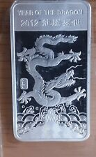 1/2 Oz. .999 Silver Bar 2012 chinese year of the Dragon Very fine.