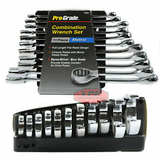 11 Piece Metric Combination Wrench Set Storage Rack Mechanics Tool Pro-Grade