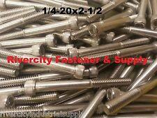 "(10) 1/4-20x2-1/2 Socket Allen Head Cap Screw Stainless Steel 1/4 x 2.5"""