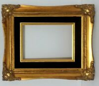 Vintage Mid Century Picture Frame Gold and Black Solid Wood  Ornate Detail 5x7""