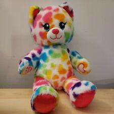 "New ListingBabw Build a Bear Workshop Rainbow Hearts Cats 16"" Plush Stuffed Toy Pink Kids"