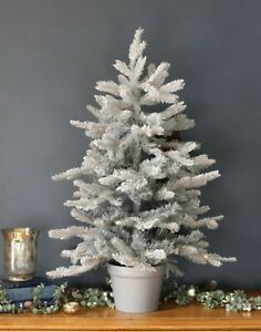 3ft Frosted Christmas Tree Realistic Potted Indoor/Outdoor Xmas Decoration 90cm