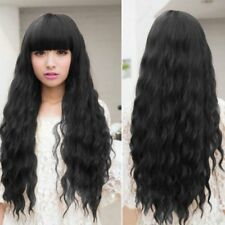 Womens Cosplay Wig Long Wavy Curly Black Hair Costume Party Lolita Full TT