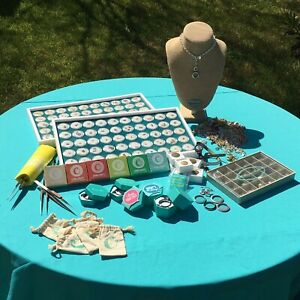 ORIGAMI OWL Big Lot~Living Lockets+Charms+Necklace Display+Chains+Tablecloth&+!