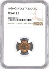 Costa Rica: 5 Centimos 1929 GCR, NGC MS 64 RB, KM# 169, Variety Red Brown