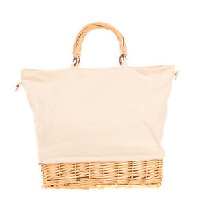 Canvas Crossbody Tote Bag Woven Straw Bottom Two Strap Slouchy Design Zipped