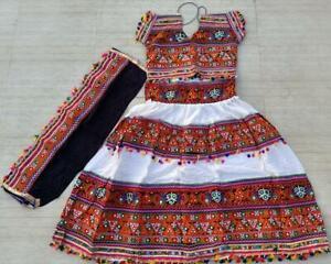 INDIAN KUCHI PATCH WORK BANJARA DRESS ETHNIC BELLY DANCE SKIRT CHOLI STOLE SET