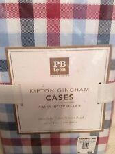 Pottery Barn Teen 2 Kipton Gingham Pillowcases Red White Blue 100% Cotton NWT