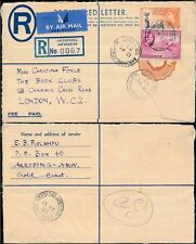 GOLD COAST AKROPONG AKWAPIM 1957 REGISTERED STATIONERY 1/- VALUE COVERED