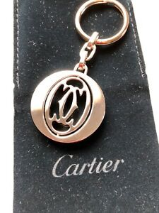 Cartier Pivoting Double C (2C) Decor Keyring - With Case and Pouch - New