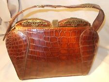Rare huge Art deco 1930's crocodile skin handbag