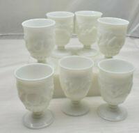 RARE Set of 7 MILK GLASS Pedestal Drinking Glasses 8 oz Pears Grapes Fruit