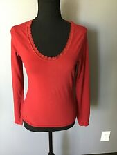 Gap Body Women's Red Lace Scoop Neck Long Sleeve T Shirt Size S