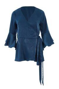 BIRD BY DESIGN BNWT the luxe wrap opal blue plus16 womens half bell sleeve top