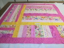 "Quilt Blocks Top only Cotton Fabric Squares strips 39""x 45"" baby top in pinks"