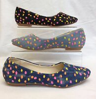 Ladies Womens Flat Ballerina Dotted Spotty Dolly Pumps Denim Slip On Shoes Size