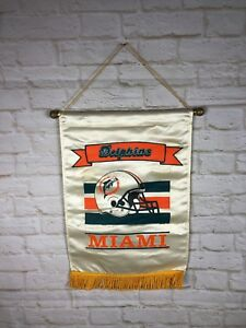 Miami Dolphins Vintage NFL House Flag Football Banner Vintage Semi-Roached 1990