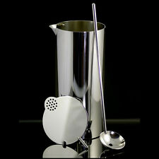 Stelton Silver Cylinda Line Cocktail Mixer with Spoon - Arne Jacobsen