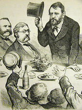 Political Cartoon 1875 COLORED Reporter COMMENTS on GRANT SPEECH Print Matted
