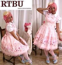 Princess Lolita Victorian Parasol Bib Corset Pink Dress