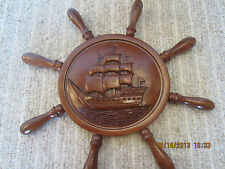 """NAUTICAL 20"""", HAND CARVED WOODEN """"BOAT WHEEL"""""""