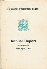 Cardiff Club Atlético Informe anual 1987 Rugby Cricket Hockey tazones Tenis