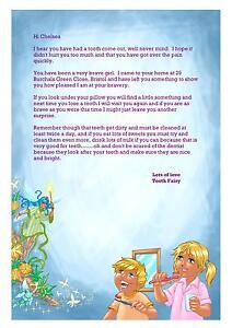 PERSONALISED LETTER FROM THE TOOTH FAIRY CHOOSE FROM 2 DESIGNS & 3 LETTERS