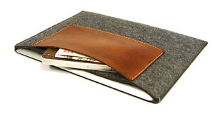 """MacBook Pro 13"""" felt with leather pocket sleeve case, UK MADE, PERFECT FIT!"""