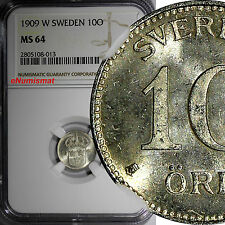 Sweden Gustaf V (1908-1950) Silver 1909-W 10 Ore NGC MS64  KM# 780