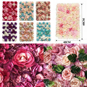 Artificial Rose Flower Wall Panels Backdrop Bouquet Wedding Party Home Decor UK