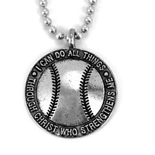 Phil 4:13 Baseball Necklace Silver  (SP5)