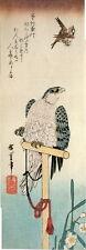Hiroshige, Birds & Botanical. Falcon Eyeing a Sparrow, Asian style 1988 print