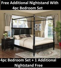 Nightstand Free w/4pc Western King Size Bedroom Hardwood Pewter Finish Bed Set