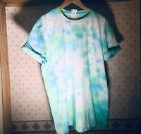 TIE DYE T SHIRT Top Tee Hipster Fashion Tye Die  Festival Grunge Blue/Green 2XL