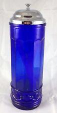 COBALT BLUE GLASS STRAWHOLDER RESTAURANT STYLE BAR WARE STRAW HOLDER DISPENSER