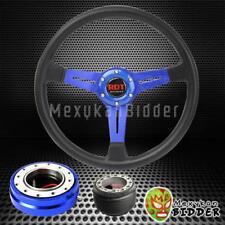 """14"""" Black Blue Steering Wheel + Blue Quick Release Hub Kit For Integra 90-93"""