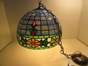 Vtg Tiffany Style Pendent Hanging Ceiling Lamp Stained Glass Light Chandelier 16
