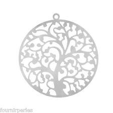 25 Pendentifs breloques Acier Inoxydable Arbre de Vie Noël Cadeau 4.3x4cm