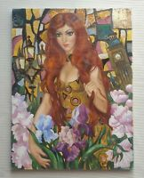 ELENA KHMELEVA b1966 large original signed cubist oil painting London Flowers
