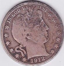 1912 Barber Half Dollar grades Very Good . Full Rims Both Sides stkbhd65