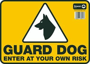 """GUARD DOG ENTER AT YOUR OWN RISK Dog House Security Warning 9.5""""x13"""" Large Sign"""