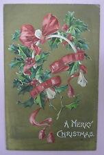 ANTIQUE A MERRY CHRISTMAS GOLD POSTCARD-WISHBONE-MISTLETOE-RIBBON