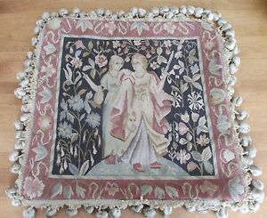 "NWT $90 Wool Woven Tapestry Beige Velvet Cushion Cover 18"" x 18"" Medieval"
