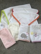 Babys  Bath Towel And 6 Flannels George Aldi White Pink