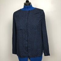 LOFT ANN TAYLOR Blue Black Leopard Button Down Long Sleeve Shirt Top