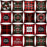 Merry Christmas Snowflake Deer Plaid Geometric Pillow Case Cushion Cover Welcome