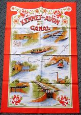 VINTAGE TEA TOWEL. KENNET & AVON CANAL. 100% COTTON. BARGES, LOCKS. UNUSED